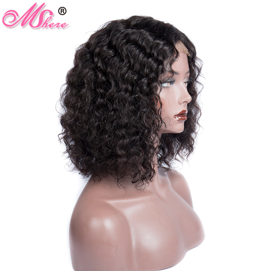 Mshere 4x4 Lace Closure Wig Brazilian Bob Wig Lace Front Short Deep Wave Curly Human Hair Closure Wigs For Black Women Remy 150%