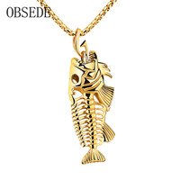 OBSEDE New Fashion Titanium Steel Fishbone Model Necklace Charm Silvery Black Golden Chain Delicate Best Gift