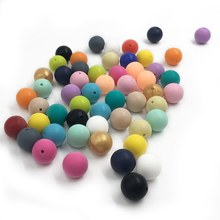 15mm Silicone Beads Baby Teething Teether Mon Necklace Pacifier Clips Holder Accessories BPA Free Silicone Color Random(China)