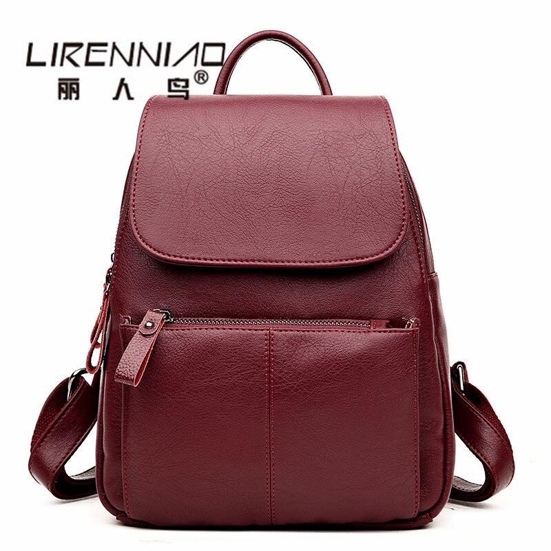 Famous Brand Designer High Quality Backpack Women Vintage Genuine Leather Solid Backpacks School Bags For Girls