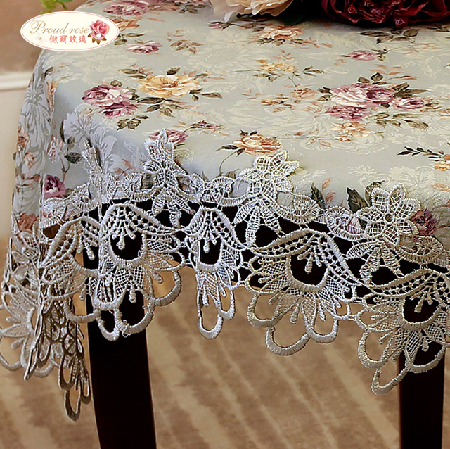 Proud Rose Retro Green Rural Lace Fabric Table Cloth Classic Embroidered Tea Table Cloth European Rural Tablecloths Table Runner