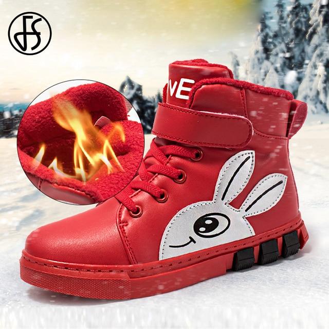 FS Red Black Rabbit Plush Skateboarding Shoes Kids' Sneakers Children Cotton Shoes Sport Running Shoes For Boys Girl Warm Winter