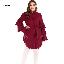 TUHAO 2018 Autumn Winter Women Ruffles Sleeve Long Blouses Plus Size 5XL 4XL Hollow Out Office Lady Blouse Shirts Tops CM72