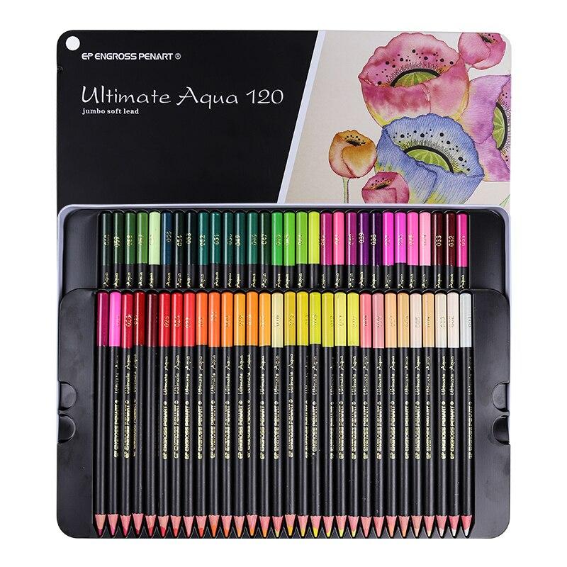 Crayons aquarelle en plomb souple de première qualité 120 couleurs ensemble de crayons de couleur hydrosolubles sûrs Non toxiques écrire des fournitures d'art de dessin