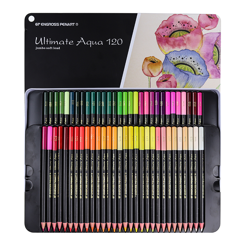 Premium Jumbo soft lead Watercolor Pencils 120colors Safe Non-toxic Water Soluble Colored Pencil Set Write Drawing Art Supplies 12 24 36 48 72 colors non toxic indonesia lead water soluble colored pencil watercolor pencil set for write drawing art supplies
