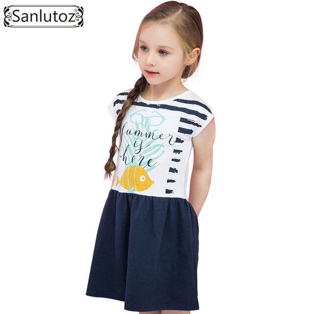 5f51753bcf7c Sanlutoz estate delle ragazze del cotone abbigliamento pesce carino  capretti del vestito del fumetto dei bambini