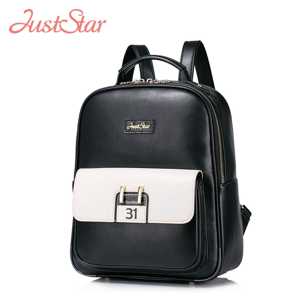 ФОТО JUST STAR Women Backpack Female Ladies PU Leather Preppy Style Daily Travel Shoulder Bags Girl's Brand School Bags JZ4157