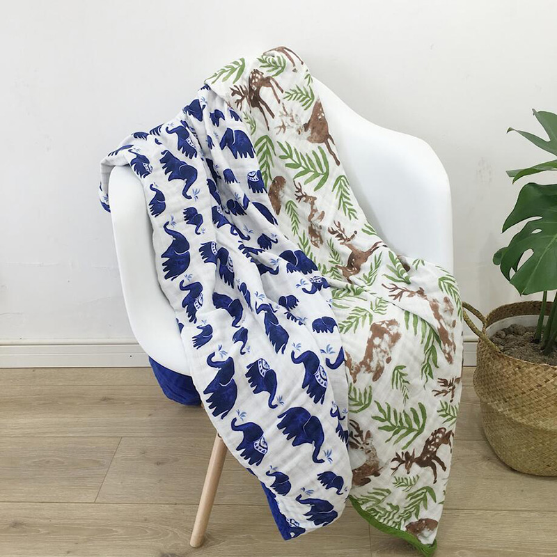 120x120cm Newborn Baby Swaddle Wrap Blanket 6 Layers Muslin Cotton Infant Baby Warp Floral Print Soft