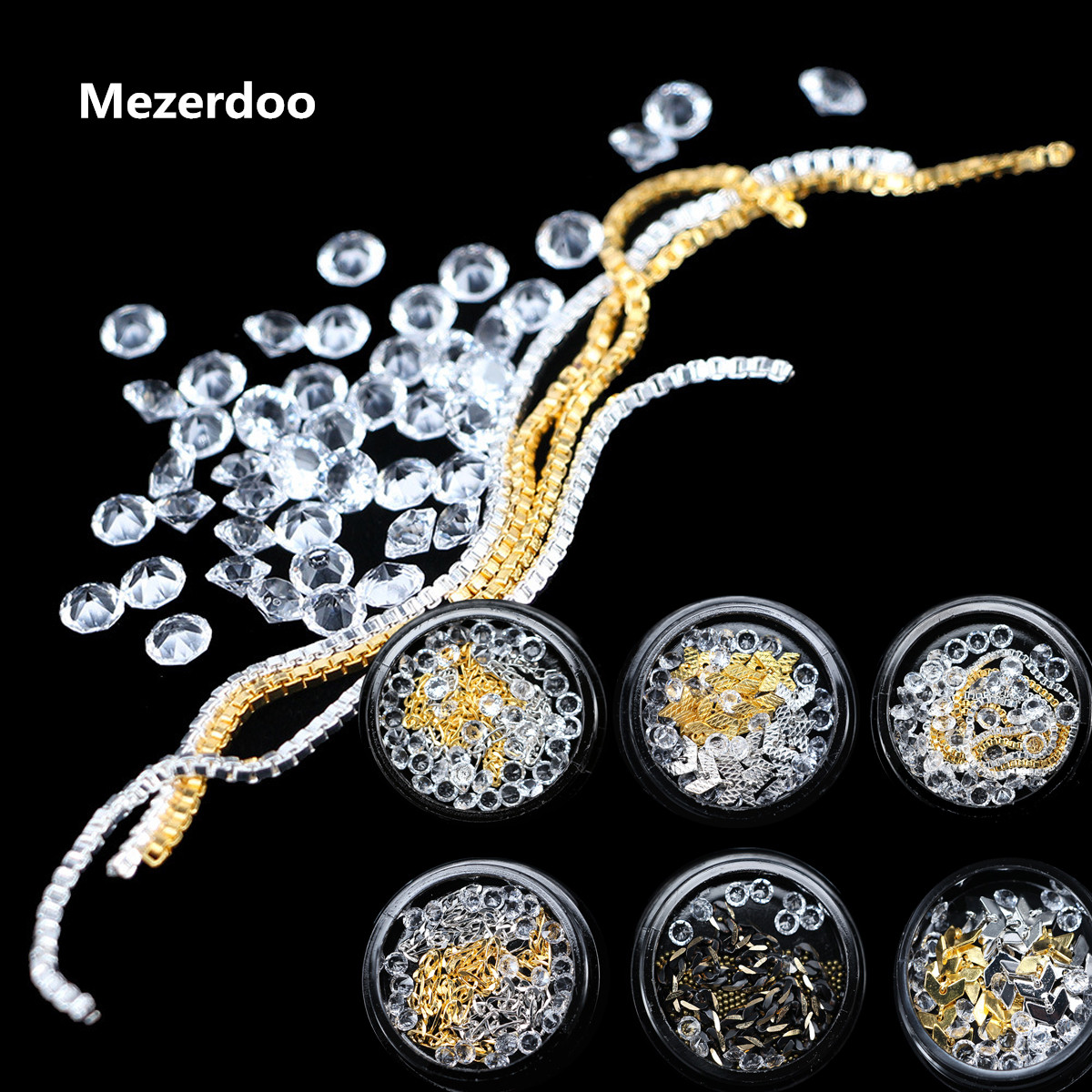 3D Nail Jewelry New Gold Silver Chain Transparent Tips Mixed  White Diamond Rhinestones for Nail Gems Art Decoration 6 Optional