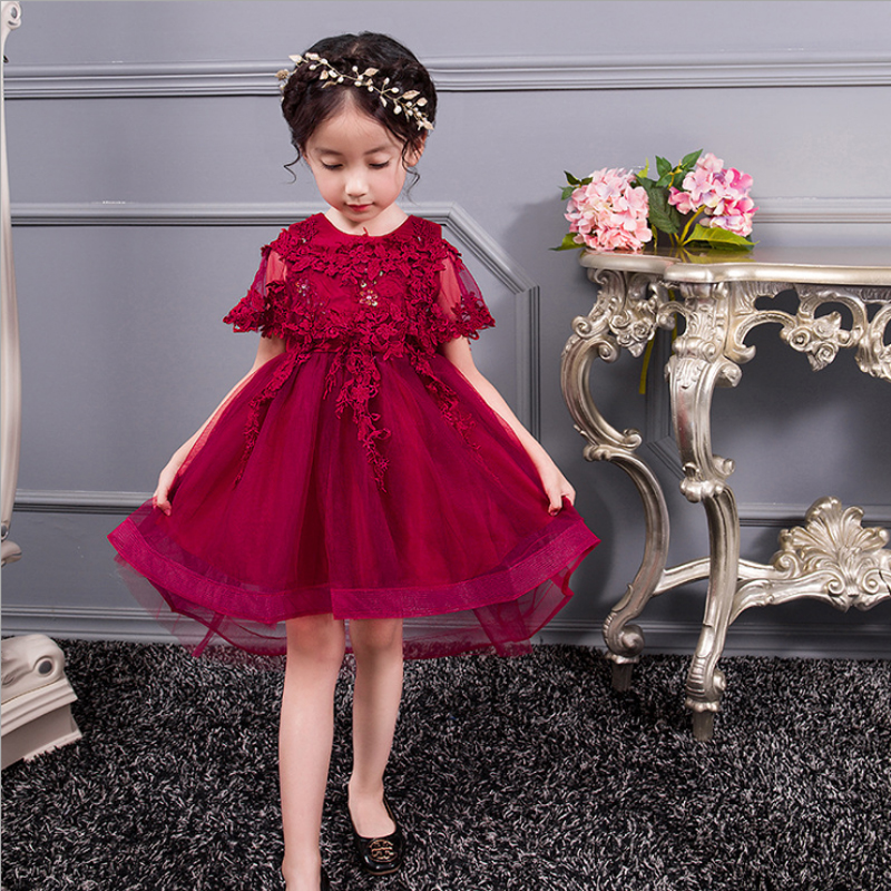 06e79dfb617 High Quality Wine Girls Piano Performance Dress Newest Design Girl Clothes  Party Prom Dress Sleeveless Kids ...