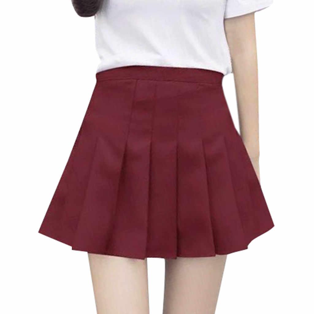 Harajuku krótka spódniczka nowa koreańska spódnica w kolorze Solide kobiet zamek wysokiej talii szkoła dziewczyna plisowana spódnica seksowna linia Mini spódnica