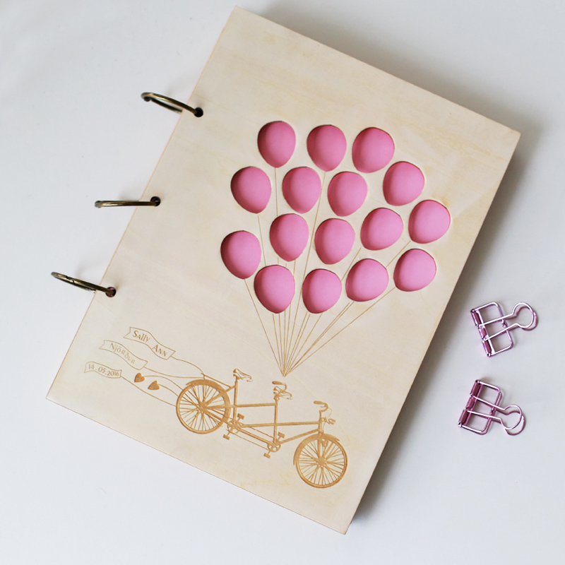 Love Tandem Bike Balloons Custom Wedding Guest Book Bridal Shower Book Wedding Present Anniversary Gift Wedding Photo Album image