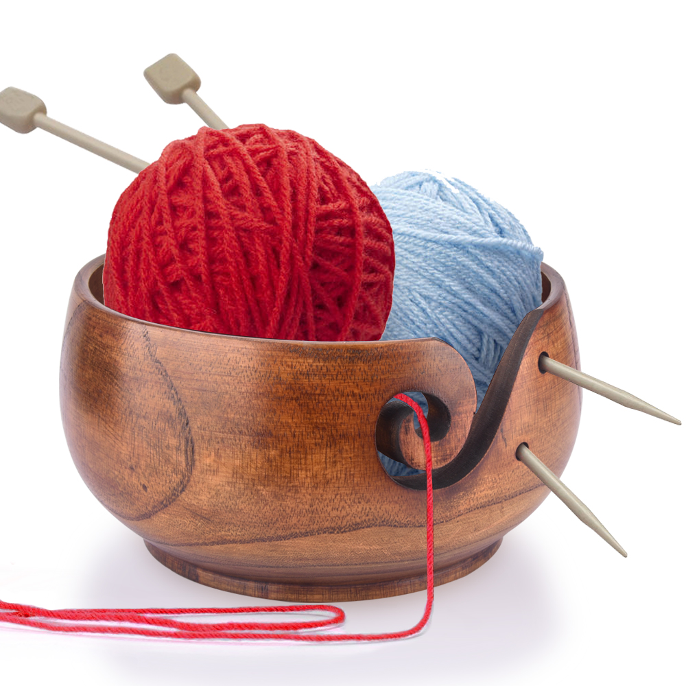 Textile Creative Yarn Carving Wood Bowl Knitting Bowl Wood Yarn Bowl Knitting Frame