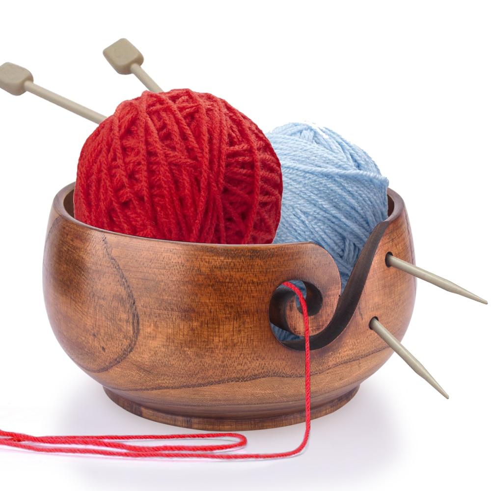 Wooden Yarn Bowl Holder Handcrafted Gift For Skeins Knitting Crocheting UK