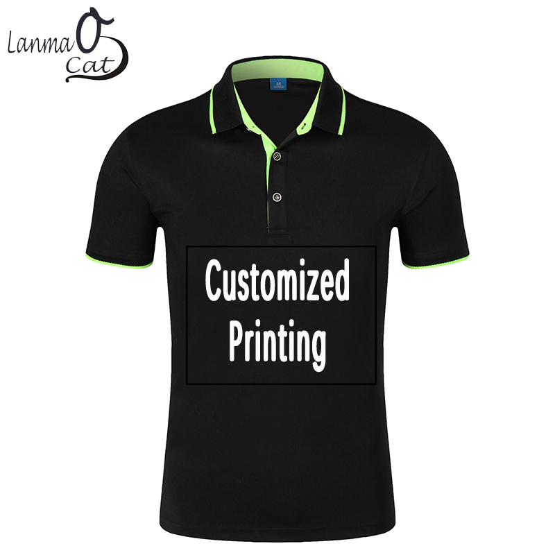 Lanmaocat Men Women Printing   Polo   Shirts Customized Printing Short Sleeve Shirts Plus Sizes   Polo   Shirt Free Shipping