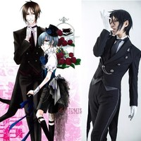 Athemis Black Butler Sebastian Michaelis Black Cosplay Costume high quality any size outfit custom made
