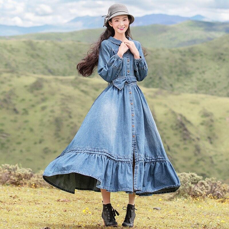 S Vintage Boshow Sac Nouveau l Maxi Shiping Lanterne Manches Stylo Robes Libre Kelly Denim 2019 Longue À Col Peter Femmes wqtwUX4