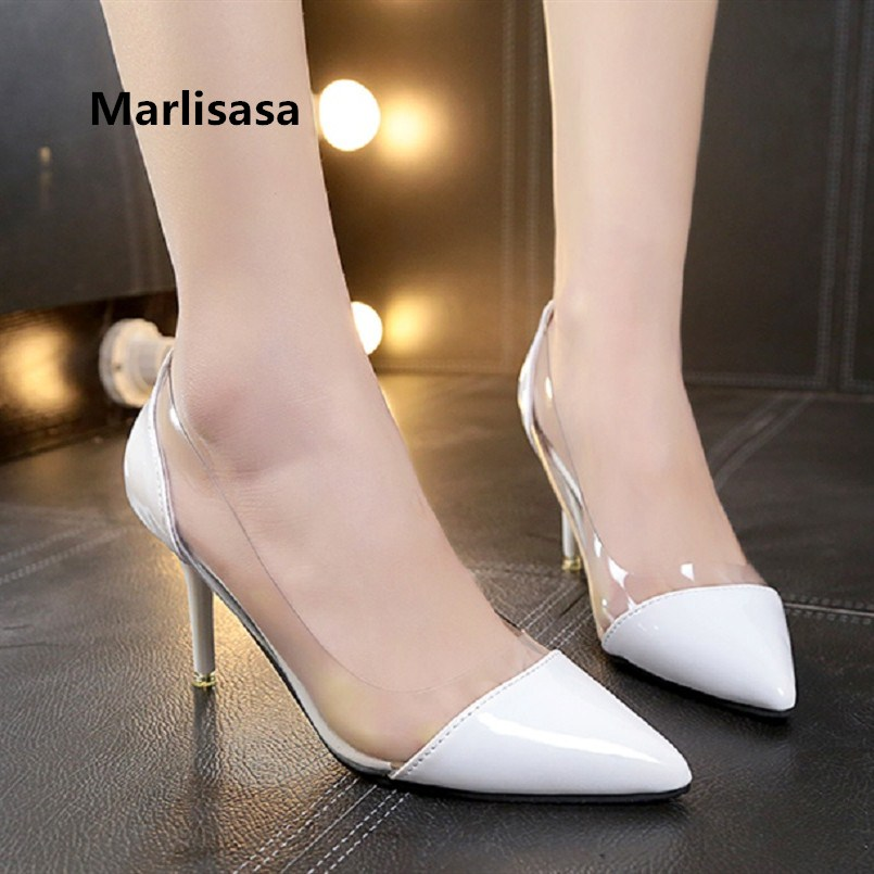 Marlisasa Women Cute Sweet White Transparent Office High Heel Pumps Lady Cute Black Pu Leather Shoes Mujer Tacones Altos F3484Marlisasa Women Cute Sweet White Transparent Office High Heel Pumps Lady Cute Black Pu Leather Shoes Mujer Tacones Altos F3484