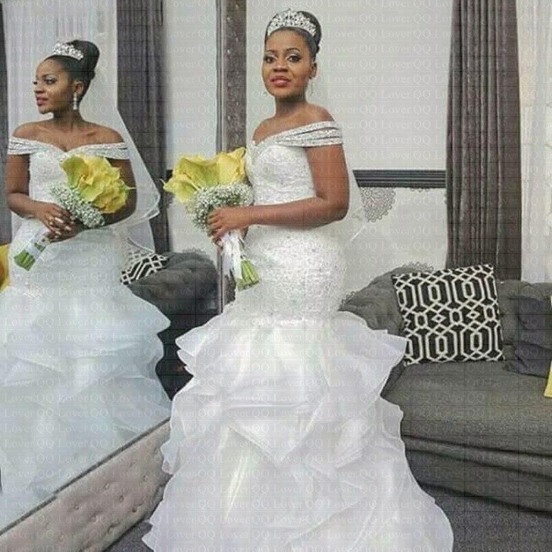 2019 New African Style Sirène Robe De Mariée Encolure Pleine Perles Robe De Mariage Nuptiale