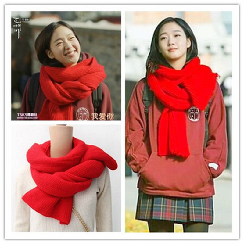 Goblin: The Lonely and Great God Korean Drama K-Drama Goblin Yoo In-Na Red Scarf Large Thick Knitting Scarves Women Cosplay Kpop