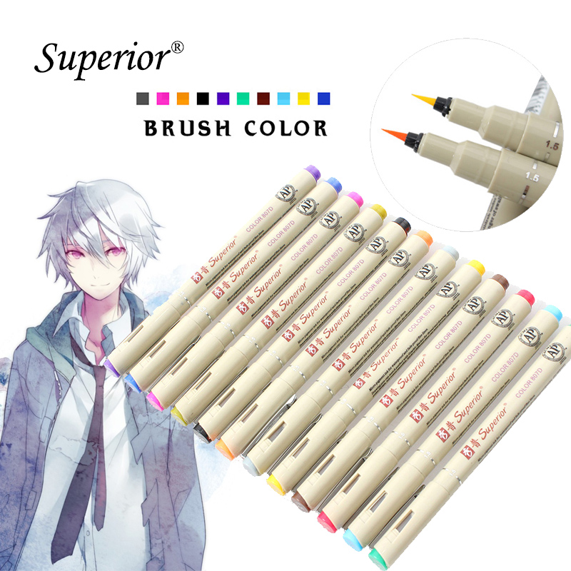 superior Needle Drawing Brush Pen Artist Soluble 12 Colors Drawing Design Paints Sketch Marker For School Art Supplies