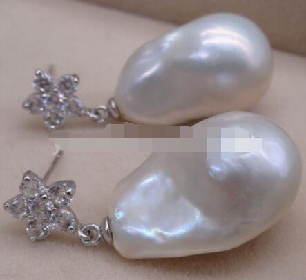 Venta caliente envío gratis> pendiente colgante de perlas de Mar del Sur barroco blanco fino 925 gancho de plata - 2