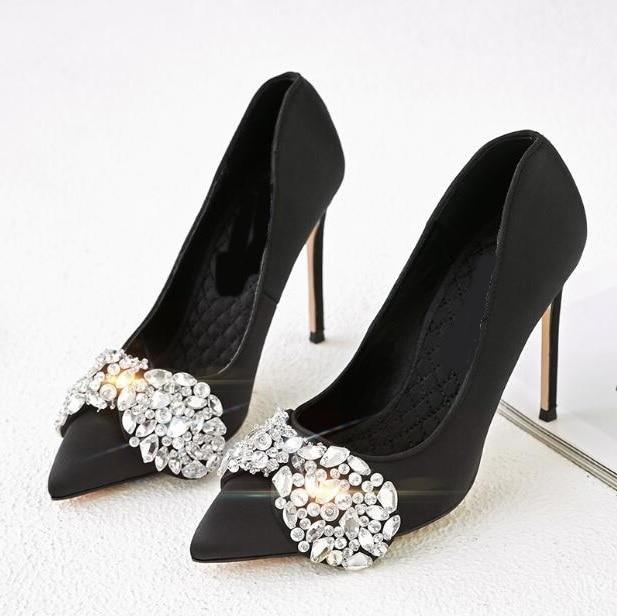 Satin Pompes Noir Mode as Cristal Aiguilles Chaussures Slip on Pointu Picture Robe Buttrfly De Bout Femme noeud Picture Haute Talons Rouge As Wxq0qYRwI5
