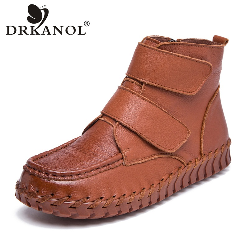 DRKANOL Spring Autumn Retro Women Boots Handmade Genuine Leather Flat Ankle Boots Side Zipper Women Casual Shoes Botas Mujer 2017 handmade casual women shoes genuine leather women boots martins spring