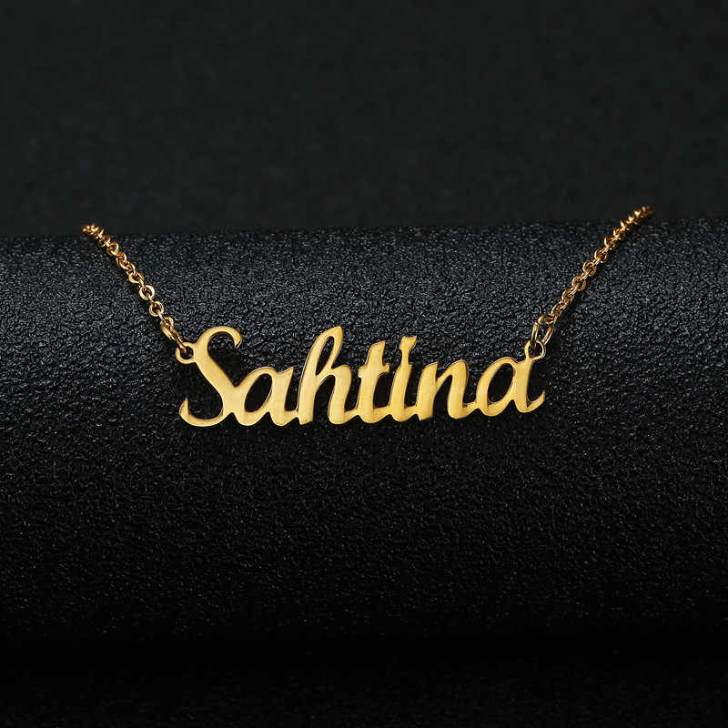 Gold Silver Color Personalized Custom Name Pendant Necklace Customized Cursive Nameplate Necklace Women Handmade Birthday Gift