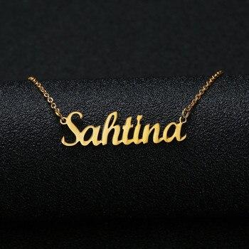 6f5cd3df8e62 Color  oro y plata personalizada nombre personalizado COLLAR COLGANTE  personalizado cursiva Placa de las mujeres collar hecho a mano regalo de  cumpleaños
