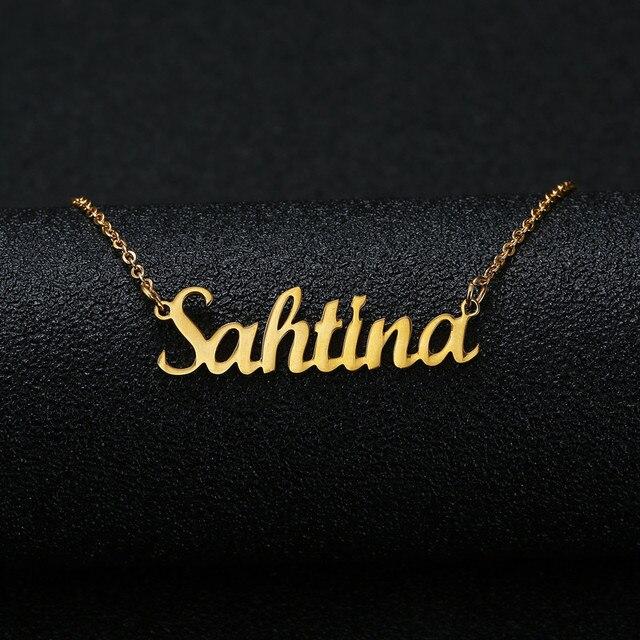 Cor Prata ouro Cursive Personalizado Nome Colar de Pingente Personalizado Placa de Identificação Colar Mulheres Presente Artesanal Aniversário