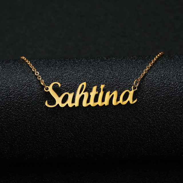 f2b044fe6 Gold Silver Color Personalized Custom Name Pendant Necklace Customized  Cursive Nameplate Necklace Women Handmade Birthday Gift