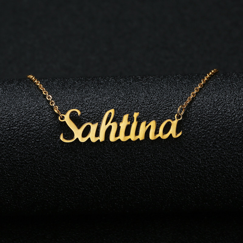 Gold Silver Color Personalized Custom Name Pendant Necklace Customized Cursive Nameplate ...