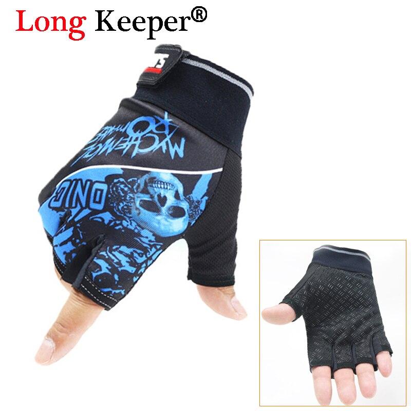 Long Keeper Men Outdoor Sports Gloves Fingerless Gym Work Out Gloves Skull Design Half Finger Non-Slip Breathable Guantes 124/1