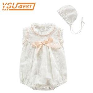 Летняя одежда для девочек; брендовый Комбинезон для маленьких девочек; Новинка; белый кружевной комбинезон с бантом и цветочным принтом для...