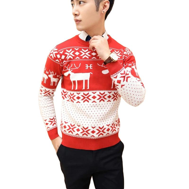 free shipping winter pullover men christmas sweater casual sweater with deer slim pull homme ugly christmas - He Man Christmas Sweater