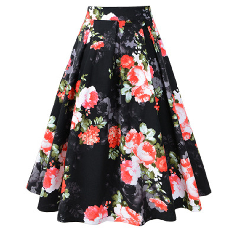 Women Vintage Floral Print Skirt High Waist Elegant Pleat Candy Color Vestiods Skater Flared Tutu