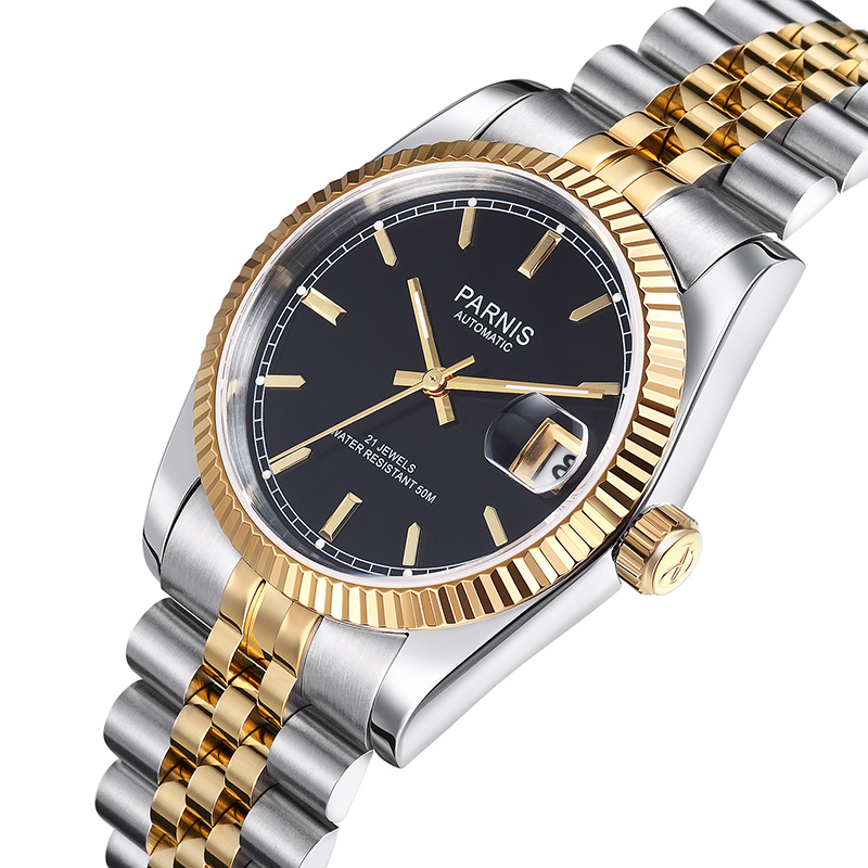 Parnis Top Luxury Brand Mechanical Watches Relogio Masculino Full Stainless Steel Bracelet Royal Series Gold Automatic Watch Men top brand luxury mens mechanical watches parnis 41mm full stainless steel automatic watch men rotating bezel luminous wristwatch