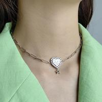 New Fashion Heart Pendant With Crystal Stone Choker for Women Silver Chain Design Star Pendant Necklace S925 SilverJewelry