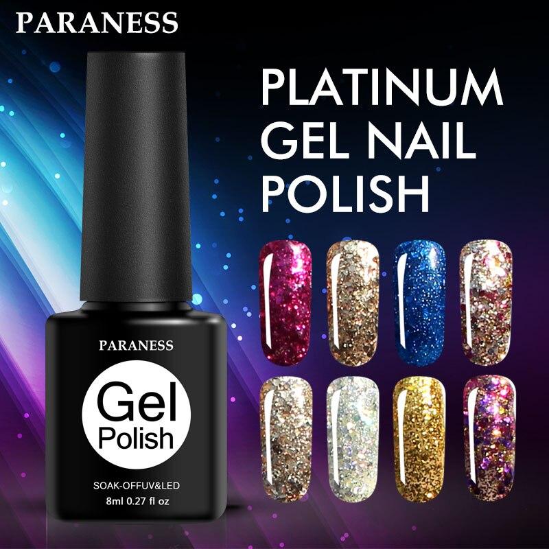Barniz de Gel UV con purpurina de diamante Paraness para uñas acrílicas Gel híbrido esmalte manicura uñas arte remojo de Gel de lentejuelas laca