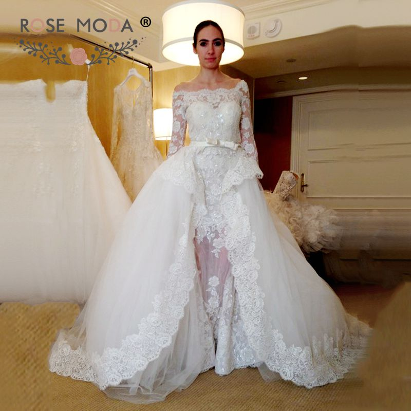 Off the shoulder three three quarter sleeves lace for Lace wedding reception dress