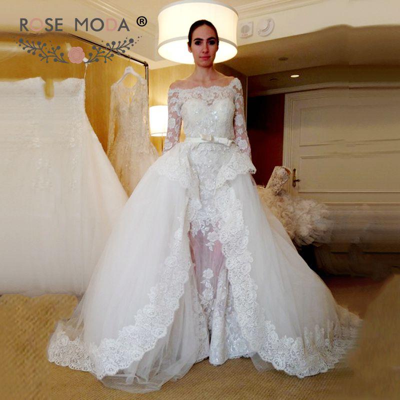 Simple And Elegant Wedding Dresses Boat Neck Three Quarter: ③Off The Shoulder ᐂ Three Three Quarter Sleeves Lace