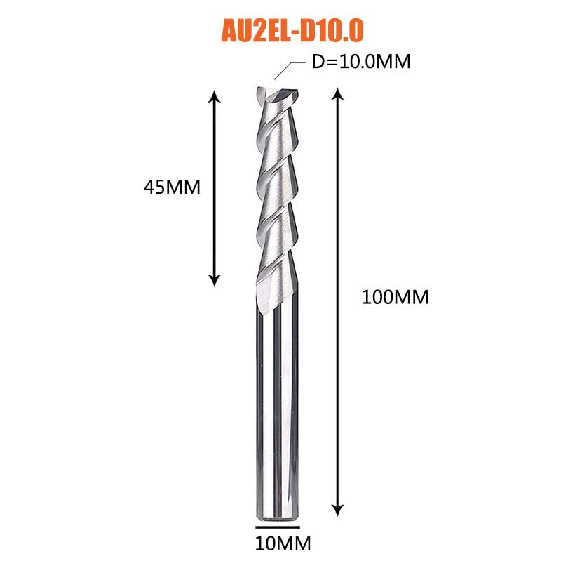 1 pc 3 флейты фрезы вольфрамового сплава концом ЧПУ фреза алюминий фреза для алюминия и деревообрабатывающие - Длина режущей кромки: 1PC-AU2EL-D10.0