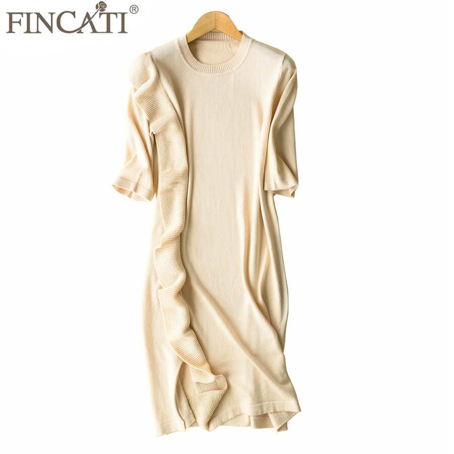 Dress Women 2018 Spring Autumn Cashmere Blending Ruffled Frilled Short Sleeve Knee Length Sweater Dresses Vestidos de Festa