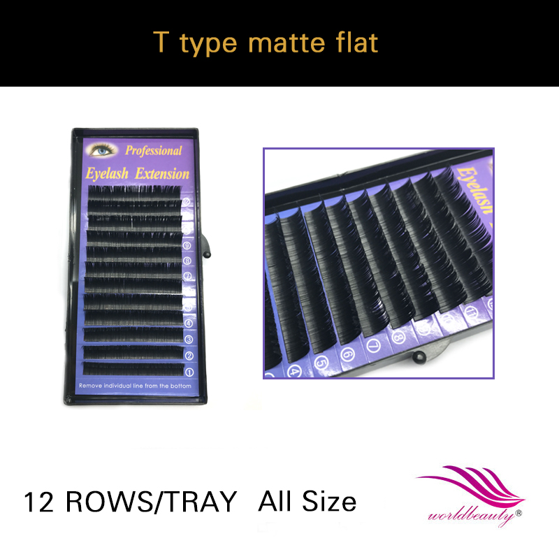 Free shippping individual new arrival T type matte Ellipse flat eyelash extension 1 tray lot All