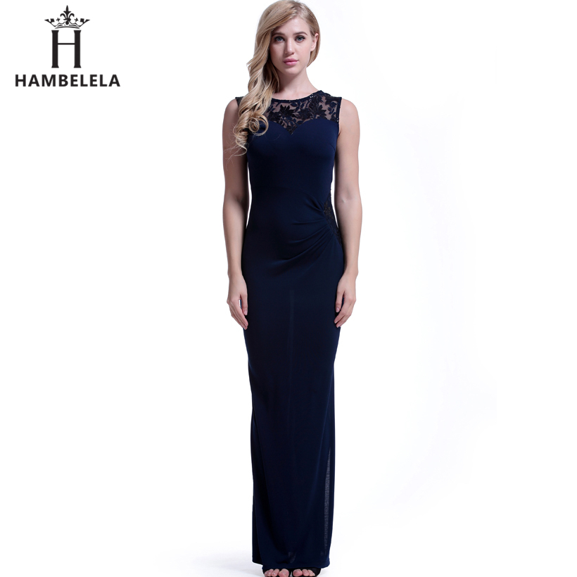 HAMBELELA Sexy High Split Long Dress Sequined Embroidery Lace O-Neck Empire Waist Floor Length Special Party Gowns Dresses