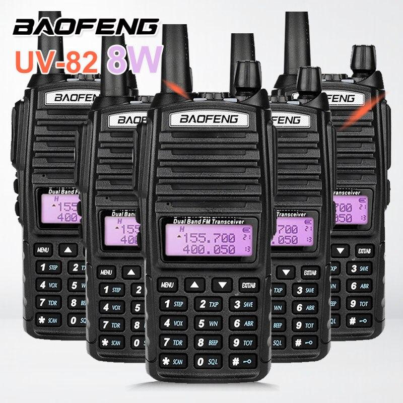 5PCS BAOFENG UV-82 UV82 8W Dual PTT Walkie Talkie 10KM VHF UHF HF Marine Radio Transceiver VOX Scrambler Ham Radio Station UV 82