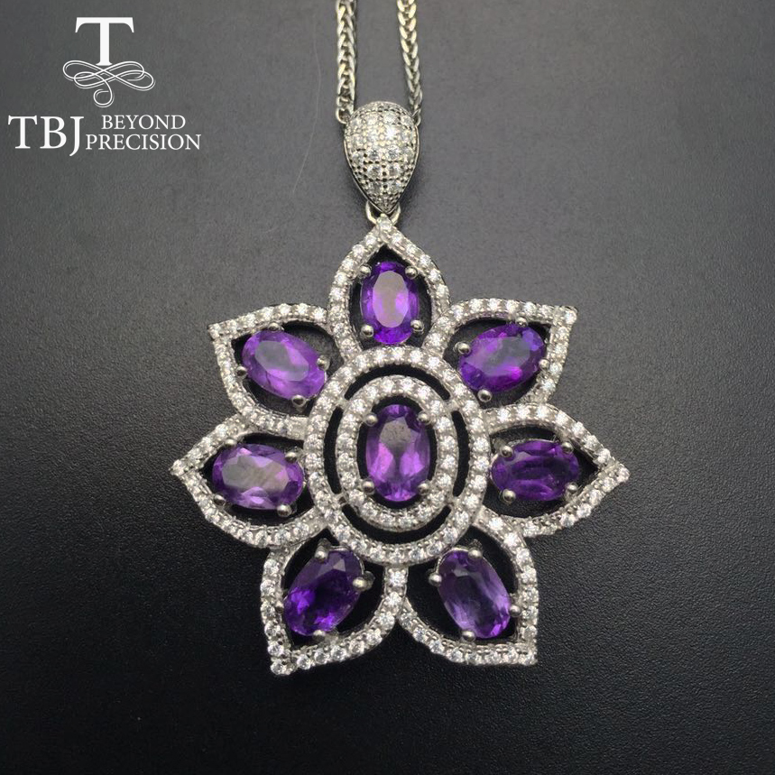 цена на TBJ, S925 silver pendant with Amethyst ,simple and fashion design pendants with chains in gift box