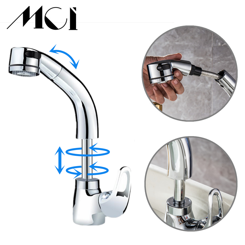 Pull out Faucet Design for Washing Hair and Face Polished Brass Bathroom Faucet Basin sink Mixer