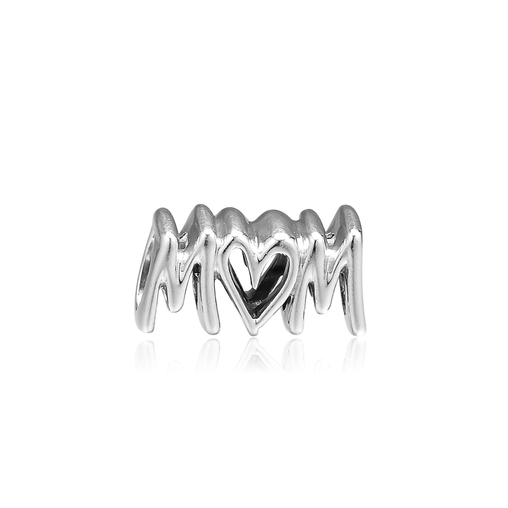 CKK Beads Mom Script Charm 925 Sterling Silver Original Beads for Jewelry Making Mothers Day Pandora Bracelet Charms perlesCKK Beads Mom Script Charm 925 Sterling Silver Original Beads for Jewelry Making Mothers Day Pandora Bracelet Charms perles